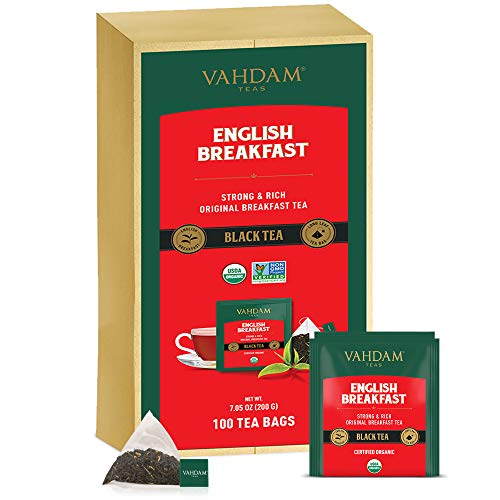 Desayuno Ingles Te Negro (100 Bolsitas De Te) | ALTA ENERGÍA Y CAFEÍNA - Reemplazo de cafe saludable | Bolsas de te negras fuertes, robustas y con sabor | ANTIOXIDANTES RICOS