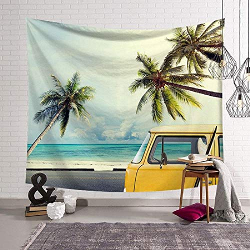 tropical summer beach print tapestry palmier palm tree wall hanging carpet bus surf tenture mural holiday home office decoration 150x180cm