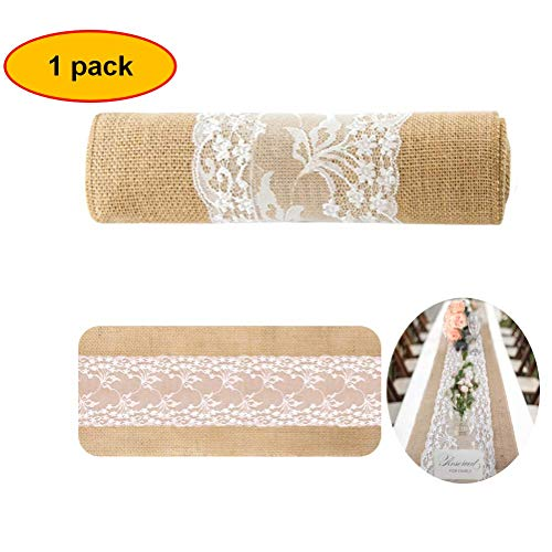 Burlap Lace Table Runner for Weddings 12X108 Hessian Rustic Jute Country Thanksgiving Christmas Baby Party Decoration Table Decor