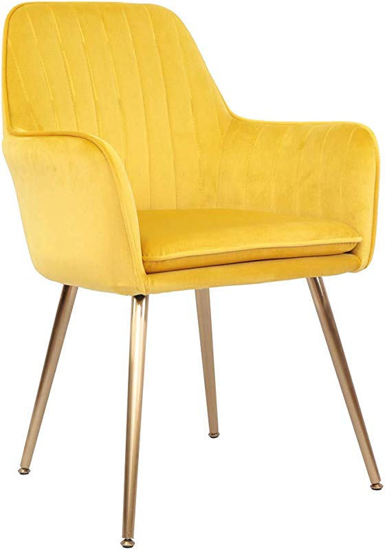 Accent Living Room Leisure Armchair Velvet Fabric Dining Chair With Golden Metal Legs Yellow