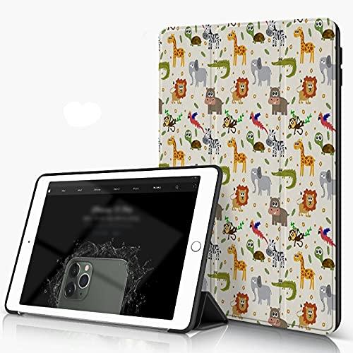 She Charm Funda para iPad 9.7 para iPad Pro 9.7 Pulgadas 2016,Africano Australiano Fauna Infantil Caras tontas Safari León Elefante Cocodrilo,Incluye Soporte magnético y Funda para Dormir/Despertar