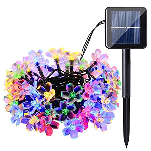 OUPPENG Luz solar de jardín al aire libre 7m 50 LED Lámparas solares impermeables Flor de cerezo Flor Sarna Sarna Luces de hadas, Patio, Jardín, Navidad (Emitting Color : Multiple Color)
