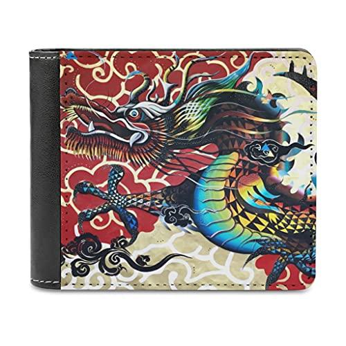 Bhqcflkwpz Dragón chino y Xiangyun Bifold cartera imprimir cuero carteras organizadores de dinero para hombres mujeres, blanco, Taille unique