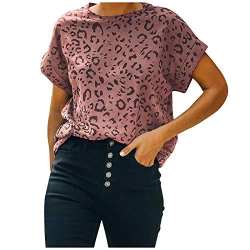 Damen Tops Casual T-Shirts mit Leopardenmuster Farblich passender Pullover Plus Size Kurzarmblusen mit O-Ausschnitt (L,Rosa)