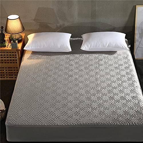 XGguo Protector de colchón - Protector de colchón antialérgico Sábana Tridimensional Engrosada para otoño e Invierno-Laberinto-Gris_90cm × 200cm