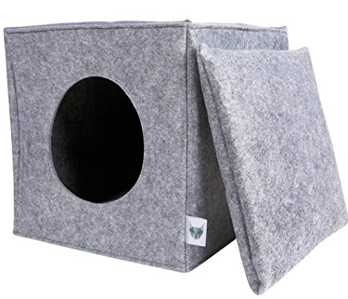 VIIRKUJA Filz Katzenhöhle inkl. Kissen | Passend für z.B. IKEA Expedit & Kallax Regal | Extra Flauschiges Kissen | Besonders stabil& warm | Hellgrau