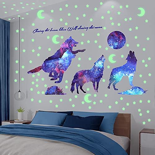 Pegatina Pared Fluorescente, XiYee Luminoso Pegatinas de Pared Brilla Estrellas Lobo, Pegatinas de Lobo y Galaxia, Fluorescentes Decoración de la Habitación para Niña Chico Casa Interior Mural
