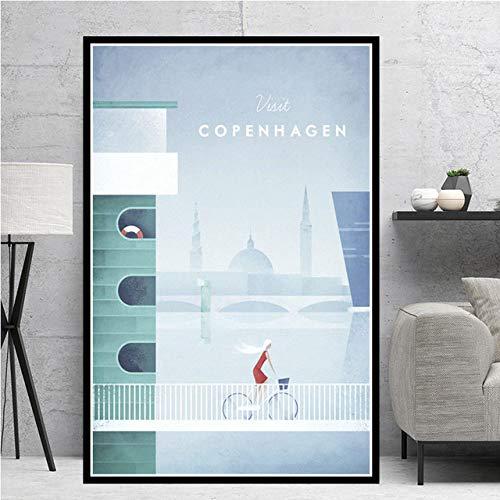 JYWDZSH Leinwanddruck Moderne Kopenhagener Kunst Minimalist Travel City Poster Druck Gemälde Leinwand Kunst Wandbilder Dekor, Wie Abgebildet, 30X40Cm Ohne Rahmen