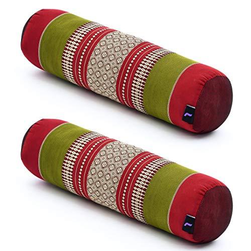 Leewadee Set de 2 Yoga bolsters pequeños – Cojines alargados para Pilates, reposacabezas Hechos de kapok Natural, 55 x 15 x 15 cm, Set de 2, Rojo Verde