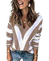 HOTAPEI Womens Plus Siz Autumn Long Sleeve Sexy Deep V Neck Hand Knit Striped Sweater Tops Fahion 2020 Loose Pullover Color Block Sweaters Khaki XX-Large