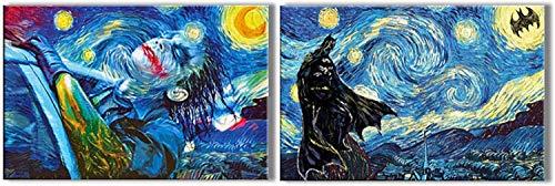 HD Printed Oil Paintings Home Wall Decor Art on Canvas Batman,Joker,Starry Night (Framed,16x24inchx2)