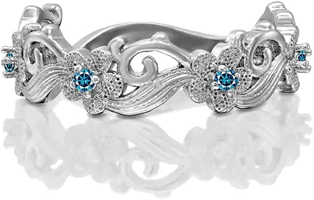 Jewels Store Outlet SALE 0.10 CT Round Aqua Diamonds Flower Blue Design Cheap mail order specialty store Eter