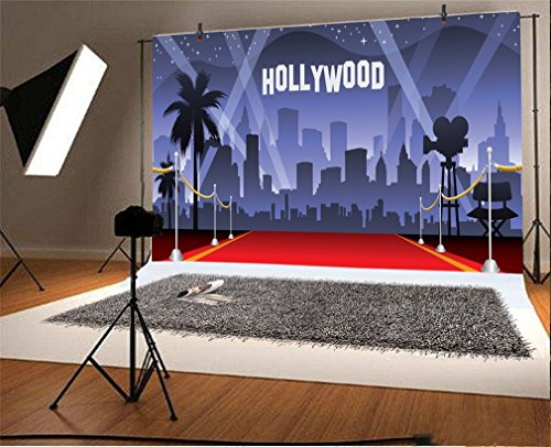 YongFoto 3x2m Vinile Sfondo Fotografico Hollywood Red Carpet Flash Lights Fondale Foto Festa Bambini Boby Nozze Adulto Partito Studio Fotografico Puntelli