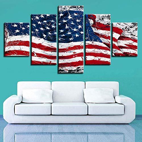 KOPASD Art Impresión Lienzo,Tamaño Grande, Bandera na artística Abstracta USA -200x100cm Diseño Profesiona/5pcs(Sin Marco)