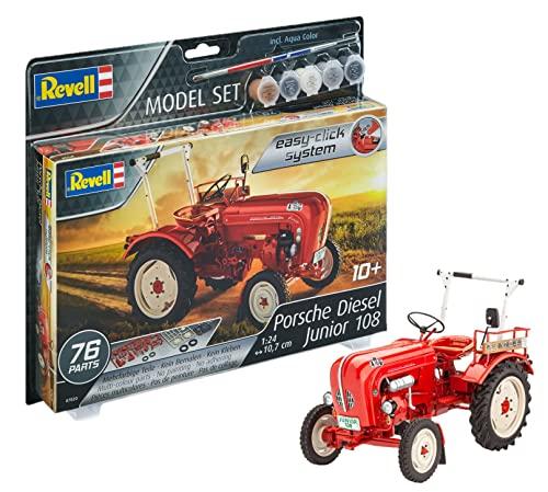 Revell REV-67820 Porsche Junior 108, Traktor Modellbausatz + Zubehör, 1:24/10,7 cm