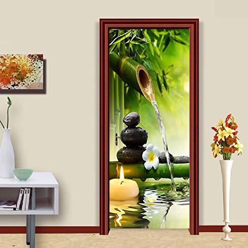 Bdhnmx 3D Tür Wandbilder Schälen und Stick Stein Bambus Kerze Wandbild Wasserdicht Kunst Bild Wohnkultur Schlafzimmer Selbstklebende Tapete Removable Poster 77x200cm