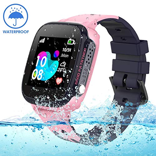 Kids Smartwatch Waterproof with GPS Tracker, Smart Watch Phone Compatible Ios Android for Children 3-12 Girls Boys SOS Call Remote Camera Two way call Touch screen Games Christmas Birthday Holiday Gif
