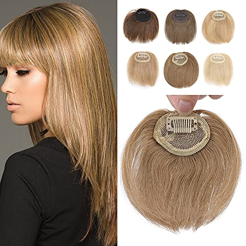 Elailite Frangia Clip Capelli Veri Extension Frangetta Irregolare Effetto Naturale 100% Remy Human Hair Bangs Biondo Scuro