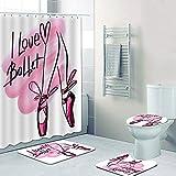 dodouna Girly Pink I Love Ballett Tanz Duschvorhang Wasserdichter Ballett Badezimmer Vorhang Für Ballerina Badematte Teppich Teppich Geschenk Dekor Carpet 180x180cm