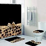 NHSY Girly Pink Ribbon Juego de Cortinas de Ducha y alfombras de baño con Estampado de Leopardo Moderno Cheetah Leopard Cortinas de baño para decoración del hogar del baño-4pcs_Full_Set_2