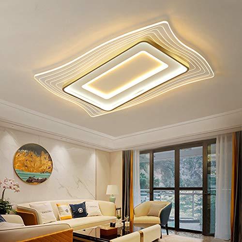 Lámpara de techo LED moderna, ultrafina, rectangular, simple, hierro forjado, acrílico transparente, regulable con control remoto, luz de techo para sala de estar, dormitorio, iluminación de cocina