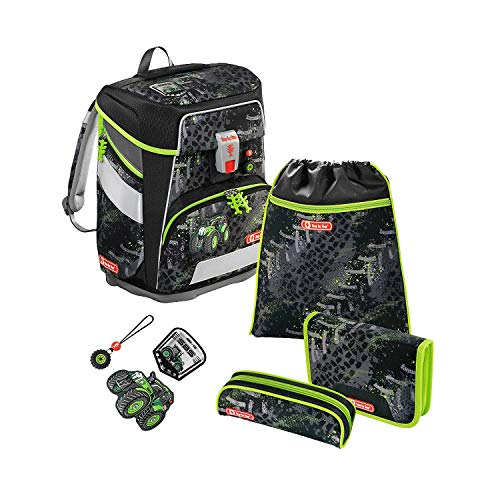 Step by Step SPACE Schulranzen-Set, 5-teilig, Green Tractor + gratis Tuschkasten