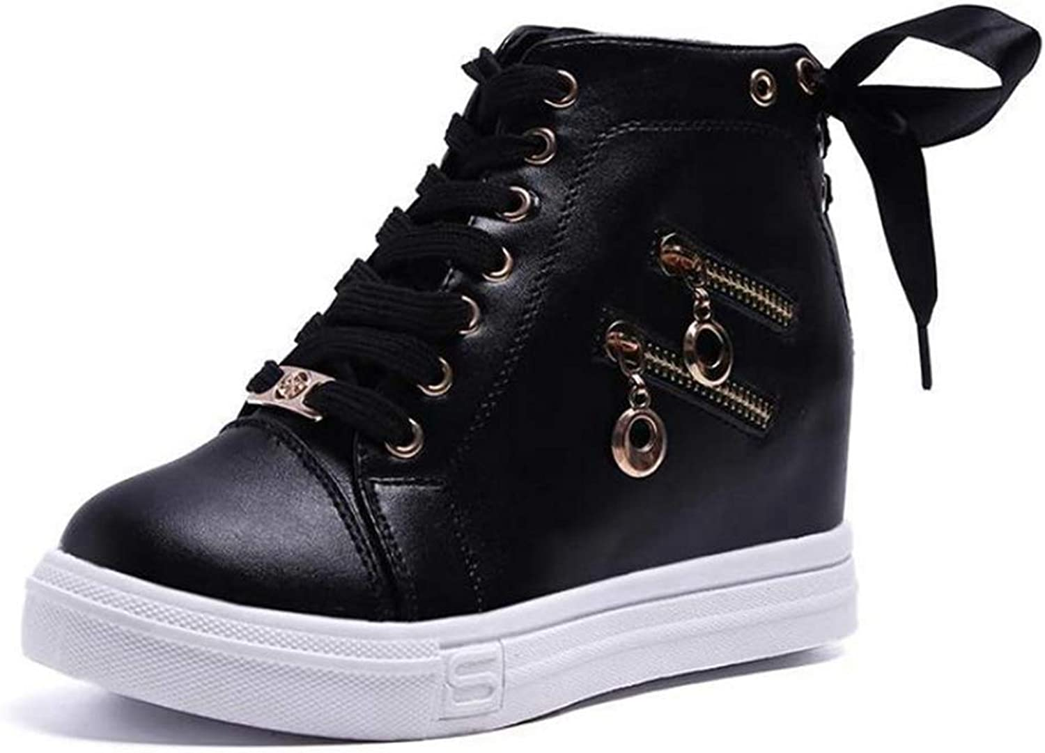 T-JULY Women Wedge Platform Rubber High Heel shoes Fashion Pointed Toe Increasing Zipper Leather Lace Up Sneakers