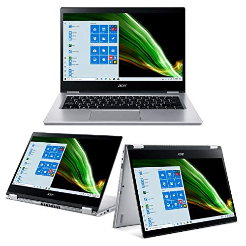 Acer Spin 3 SP314-21-R8WV Pc Portatile, Notebook con Processore AMD Athlon Silver 3050U, Ram 4 GB, 256 GB PCIe NVMe SSD, Display Multi-touch 14