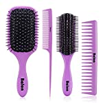 Beauty Shopping 4Pcs Paddle Hair Brush, Detangling Brush and Hair Comb Set for Men and Women, Great
