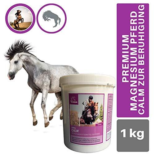 EMMA® Magnesium Pferd I Calm zur Beruhigung I Magnesium Combi Pulver I Vitamin E I Selen Pferd I bei Angst Stress Schreckhaftigkeit I unterstützt Gelassenheit bei nervösen Pferde Pony 1Kg