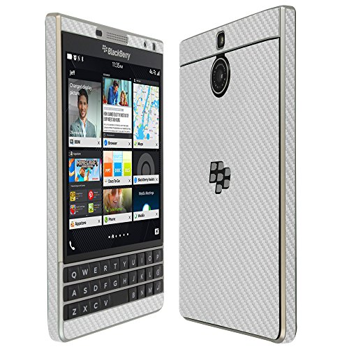 Skinomi Silver Carbon Fiber Full Body Skin Compatible with BlackBerry Passport (Silver Edition)(Full Coverage) TechSkin with Anti-Bubble Clear Film Screen Protector