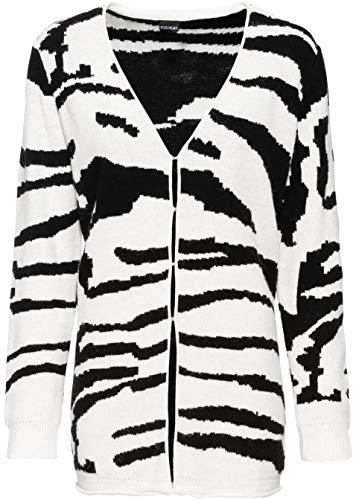 Versandhaus Damen Longstrickjacke mit Zebra-Design, 313800 in Schwarz/Wollweiß Zebra...