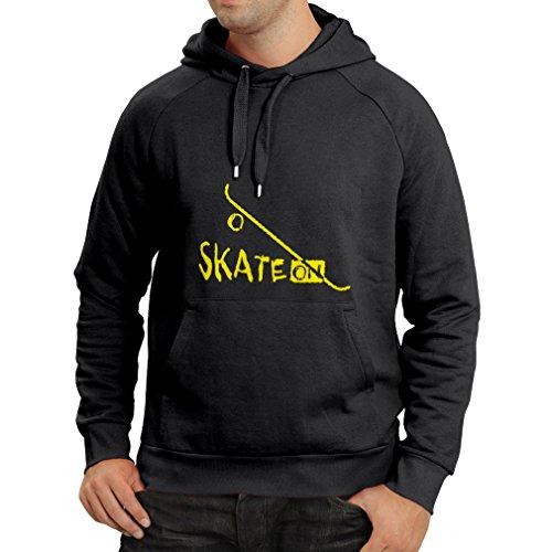 lepni.me N4197H Sudadera con Capucha Skate ON ! (Medium Negro Amarillo)