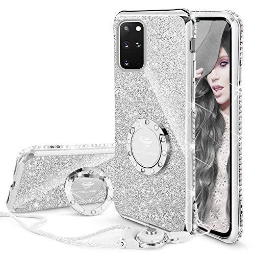 OCYCLONE Hülle Kompatibel mit Samsung Galaxy S20 Plus, Glitzer Diamant Handyhülle mit Trageband und Handy Ring Ständer Schutzhülle für Galaxy S20 Plus Handyhülle für Mädchen Frauen - Silber