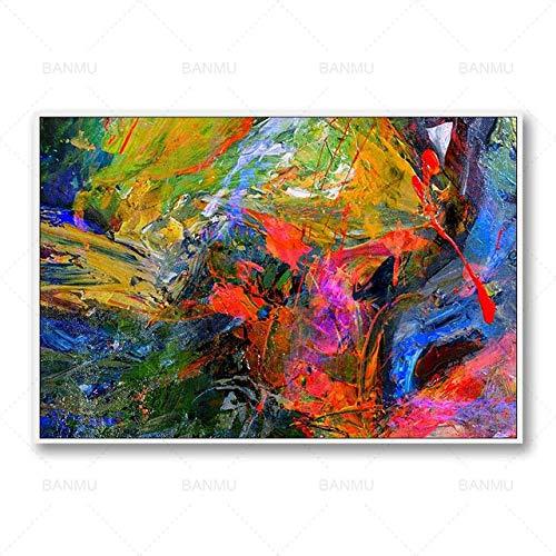 N / A Wandkunst Leinwand Malerei Fotodruck Poster abstrakte Bunte Ölgemälde Wohnzimmer Home Art Dekoration Gemälde Rahmenlos A69 50x70cm