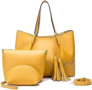 PU Handbag 3 Piece Set Versatile Multi Piece Set (Color : Yellow)