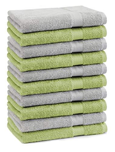Betz Lot de 10 Serviettes débarbouillettes lavettes Taille 30x30 cm en 100% Coton Premium Couleur Gris argenté et Vert Pomme