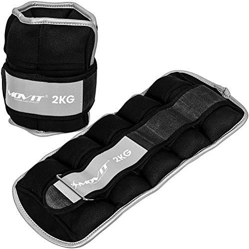 Movit® 2er Set Gewichtsmanschetten Neopren mit Reflektormaterial 2X 2,0kg, verstellbar, inkl. 5 Nylon-Gewichtsbeutel mit Eisensand, Laufgewichte für Hand- und Fußgelenke