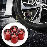 4 unids/set tapas de vástago de válvula de neumático anodizado cubiertas de polvo de vástago de aluminio for neumáticos de coche tapas decorativas (Color : Red)