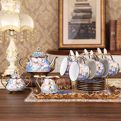 XHF Kettle 18 Piece European Retro Titanium Ceramic Tea Set with Metal Holder, Porcelain Tea Cups Set, for W, Golden Flower Painting,D