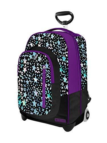 Trolley scuola Sky girl lilla e nero, 38L, fondo preformato con guscio rinforzato antiurto, spallacci a scomparsa. Perfetto per le scuole elementari.