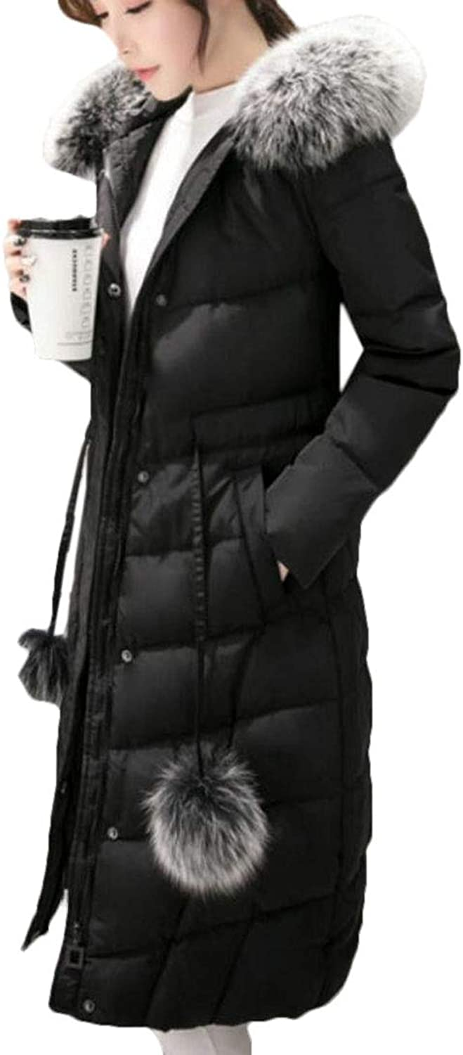 YYear Women's Warm Drawstring Faux Fur Quilted Hooded Long Down Jacket