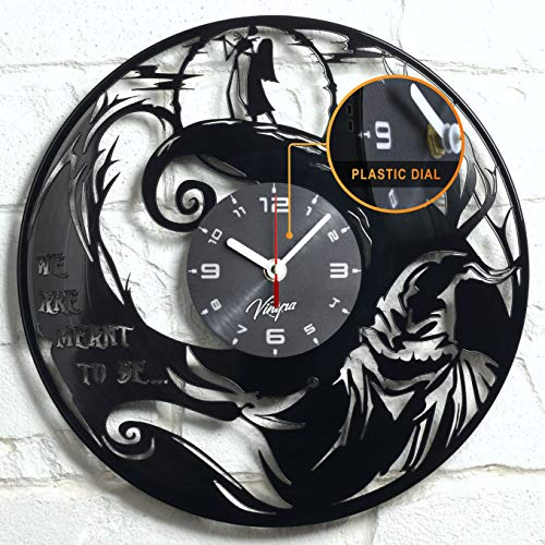 "Vinyra Vinyl Wall Clock Compatible with Tim Burton Jack Skellington and Sally Nightmare Before Christmas Cartoon Themed Kids Room - Gift Idea Characters Nursery Art Decor 12"" LP Record Clock Black"