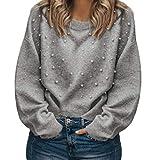 Hanomes Damen Pullover,Damen Nachahmung Perlen Pullover Herbst Casual Sweatshirt Lose Tops Rundhalsausschnitt Langarm Pullover