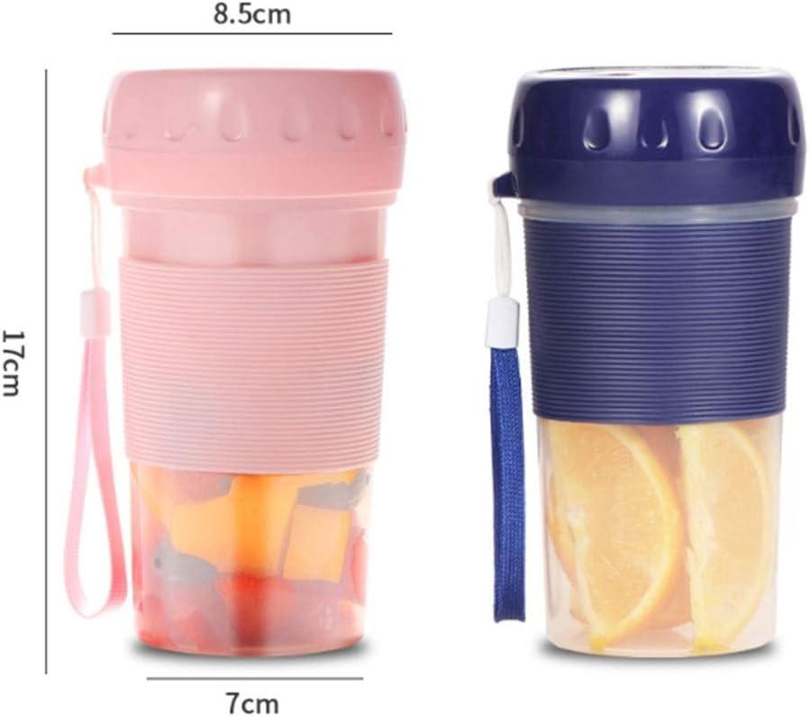 QFF Nueva portátil de Frutas Exprimidor eléctrico pequeño portátil Jugo Mini Net Red máquina Exterior (Color: Fresa en Polvo/arándano Azul) (Color : A) A