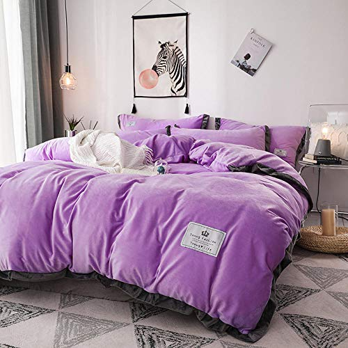 Bedding-LZ christmas king size duvet cover sets-Thickened crystal velvet four-piece winter double-sided flannel duvet cover baby milk velvet bed sheet three/four-piece gift-F_1.2m bed (3 pieces)