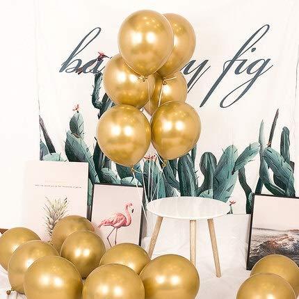 Naikaxn Luftballons 128pcs Großhandel Partei-Ballone Goldmetallischer Ballons 12 Zoll Verschiedene Metallchrom-Latex-Ballon for Geburtstagsdekoration (Color : Gold Pack)