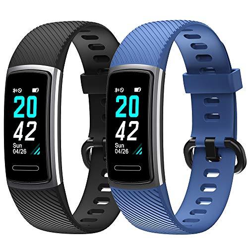 Rayfit Pulseras de Repuesto para Fitness Tracker Correa para ID152 Reloj Podómetro Smart Band Correa Repuesto de Reloj Deportivo Inteligente Pulseras Actividad Contador Pasos Calorías (Negro + Azul)