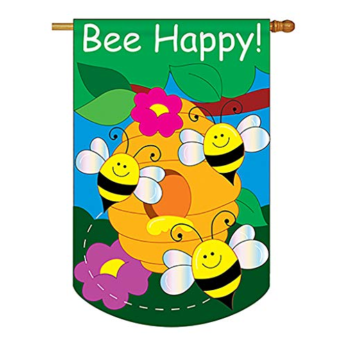 Two Group - Bee Happy Garden Friends - Everyday Bugs & Frogs Applique Decorative Vertical House Flag 28' x 44'