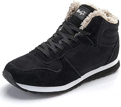 Winterschuhe Herren Damen Warm Gefüttert Boots Schneestiefel Winterstiefel Winter Sneaker Schwarz Blau  43 EU/8 UK Men